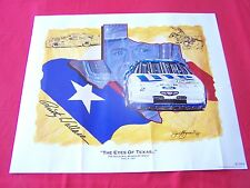 """1997 NASCAR Poster,"""" THE EYES OF TEXAS..."""" Signed by Rusty Wallace & Sam Bass"""