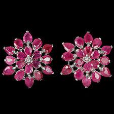 Sterling Silver 925 Genuine Natural Pear Cut Pink Ruby Cluster Earrings