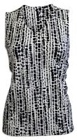 New Eastex Navy Black White Reversible Sleeveless Tunic Top Size 10 - 20