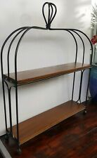Vintage Wrought Iron Wood Kitchen/Bathroom Tabletop or Wall Hang Display Shelves