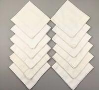 """12 Vtg Heavy Linen Napkins Hemstitched Off White  20"""" Square"""