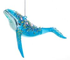 Kurt Adler Great Blue Whale Encrusted  Holiday Ornament Glass