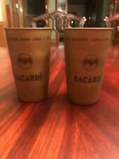 Bacardi Metal Can Drink Cups - Bat Logo - Black - 15 Ounce ....NEW