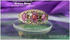 Victorian Almandine Garnet & Emerald Ring UK size N 15ct Gold Birmingham HM 1867
