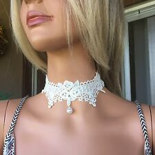 White Lace Goddess Choker Necklace Pearl Drop Bridal & BoHo Handmade In ????