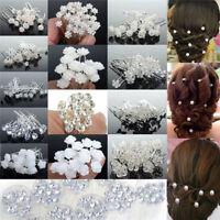 20/40Pcs Women Lady Wedding Bridal Pearl Flower Crystal Hair Bobby Pins Clips