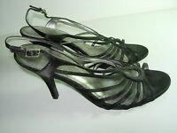 WOMENS BLACK SATIN STRAPPY SLINGBACK SANDALS HIGH HEELS EVENING SHOES SIZE 9 M