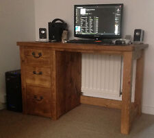 RUSTIC SOLID PINE PEDESTAL DESK (Can be made to any size)
