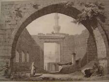Arménie Intérieur Monument d'Auguste à Angora 1838 Gravure sur acier