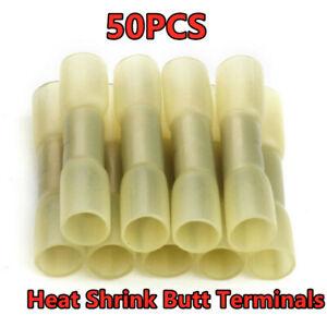 50Pcs Heat Shrink Waterproof Wire Crimp Connectors Butt Splice Terminals Yellow