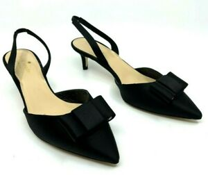 Kate Spade NEW Susi Black Satin Slingback Shoe Bow Kitten Heel Italy Sz 7M $298