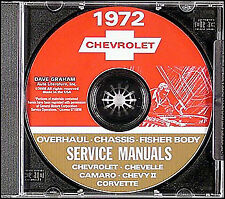 1972 Chevy CD Shop Manual Camaro Nova Corvette Impala Caprice Bel Air Biscayne