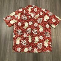 Aloha Republic Mens 2XL Pineapple Hibiscus S/S Cotton Hawaiian Shirt Red