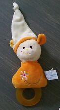 doudou Gipsy ours blanc orange hochet fleur