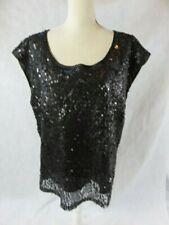 Vintage Faith 21 Black Sequin Top Size 2X