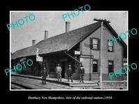 OLD LARGE HISTORIC PHOTO OF DANBURY NEW HAMPSHIRE, THE RAILROAD STATION c1910