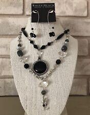 WHITE HOUSE BLACK MARKET Jewelry Lot Necklace Earrings Silver Tone Black
