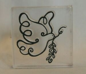 Acrylic Mounted Rubber Stamp Christmas Peace Dove Olive Branch Provo Craft