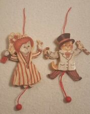 VTG TWO NEW Wooden Pull String Puppets Mr & Mrs CAT Christmas Tree Ornament