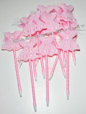 12 PC BABY SHOWER FAVORS PENS  DRESS SWEATERS RECUERDOS PARTY FAVORS PINK GIRLS