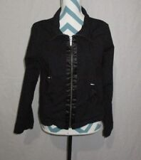 Womens Size Medium Apostrophe Stretch Black Zipper Jacket With Satin Accent