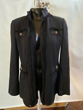 ST JOHN KNIT FRINGE BLACK BUTTON CARDIGAN JACKET BLAZER  sz 4