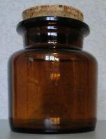 POT en verre fumé couleur ambre avec son bouchon de liège