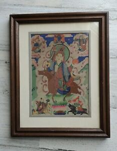 Tibetan Mongolian Wood Framed Antique Thankga Painting 5 Protector Deities