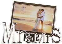 "Mr & Mrs Silver Photo Frame  - Holds  4 x 6"" Photo - Great Wedding Gift"
