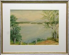 Morton Original Watercolor painting lake landscape with frame Make an Offer!