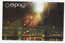 Expo 67 Montreal Canada Fireworks Across Dolphin Lake Vintage Postcard