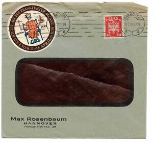 Lettre 1926 Max Rosenbaum Hanovre Avec Vignette Frankfurt Foire ! (b7
