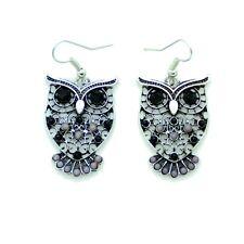 Boucles d'oreilles Chouette Hiboux Perle Noir et Blanc owls Eulen BFPAM012