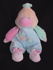 """EMILY TOYS 9"""" Plush BABY DUCK Blue Yellow RATTLES Pastel Snail Turtle Bunny"""