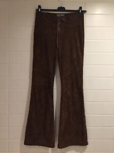 Y2k Low Rise 70's Style Brown Flares Size 10 Corset Tie Fastening