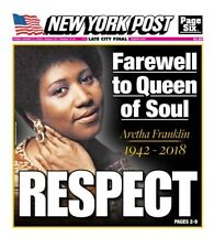 NEW YORK POST NEWSPAPER ARETHA FRANKLIN RESPECT QUEEN OF SOUL 8/16/10