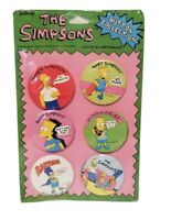 NEW SEALED VINTAGE THE SIMPSONS 6 BUTTON SET COLLECTION BARTMAN 1990 HOMER
