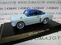 4CV6A Voiture 1/43 ELIGOR hachettes renault 4CV n° 12 Autobleu 1956