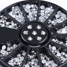 3mm Silver Flower Rhinestone Round 3D Nail Art Decoration in Wheel Nails Tips