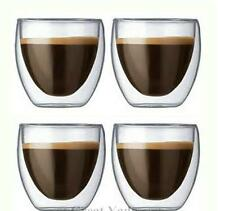 80ml x 4 pcs Bodum Double Wall glass cup mug for tea/espresso Mini coffee Cups