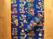 Twin Flat Fitted Sheet Set Looney Tunes Bugs Taz Marvin Daffy EUC Fabric Sports