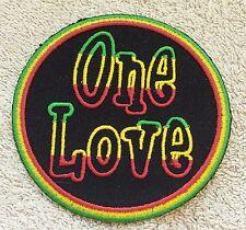 "RASTA ONE LOVE PATCH 3"" Sign Cloth Badge/Emblem/Insignia Biker Jacket Bob Marley"