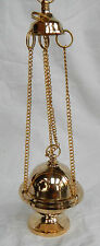 Hanging Four Chain Brass Incense Burner - Church Chain Lift Lid Style - BNIB
