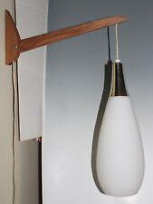 Mid Century Modern Wall Hanging Pendant Lamp Sconce Glass Teak Wood