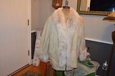 marvin richards tan leather & fox fur trim coat jacket