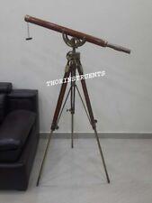 Antique Brass Brown Telescope Wooden Tripod Home Decorative Wheel Telescope