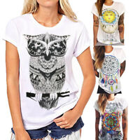 Women Casual Simple Boho Summer Short Sleeve Cartoon Cotton T-Shirt Blouse Tops*