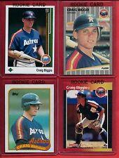 Craig Biggio 1989 RC Lot of (4) UD-Donruss-Fleer-Topps Astros 2015 HOF Class