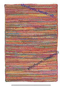Rectangle Weave Rug Area Rug Floor Jute Natural Rug Braided Carpet Handmade Jute