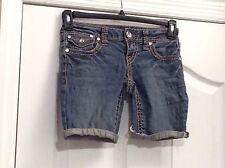 """ZANA DI Bermuda Cut-Off Jean Shorts. """"Rockin Denim"""". Bling Buttons. Size 1."""